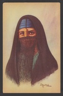 """Egypt - RARE - Vintage Post Card - Native Woman Wearing The """"YASHMAK"""" - Covers & Documents"""
