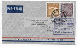 1955 - ENVELOPPE COMMEMORATION De La 1° TRAVERSEE De L'ATLANTIQUE SUD Par MERMOZ ! SANTIAGO (CHILI) => PARIS AIR FRANCE - 1927-1959 Brieven & Documenten