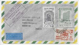 1955 - ENVELOPPE COMMEMORATION De La 1° TRAVERSEE De L'ATLANTIQUE SUD Par MERMOZ ! BRESIL => PARIS AIR FRANCE - 1927-1959 Brieven & Documenten