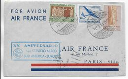 1948 - ENVELOPPE 20 ANS Du 1° SERVICE AERIEN AMERIQUE Du SUD - EUROPE - URUGUAY => PARIS AIR FRANCE - 1927-1959 Brieven & Documenten
