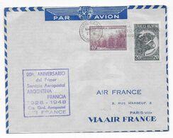 1948 - ENVELOPPE 20 ANS Du 1° SERVICE AERIEN AEROPOSTAL ARGENTINE / FRANCE => PARIS AIR FRANCE - 1927-1959 Brieven & Documenten