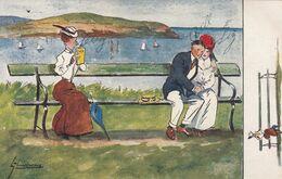TUCK : Thackeray , Old Maid & Romance Couple On Bench , 1909 - Tuck, Raphael