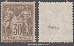 30c Sage Type I (N/B) Neuf (*) Superbe Nuance Foncée  (Y&T N° 69, Cote  +++€) - 1876-1878 Sage (Type I)