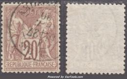 20c Sage Type I (N/B) Oblitéré TB Et Bien Centré (Y&T N° 67, Cote +++€) - 1876-1878 Sage (Typ I)