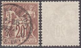 20c Sage Type I (N/B) Oblitéré *LUXE* Super Centrage  (Y&T N° 67d, Cote +++€) - 1876-1878 Sage (Type I)