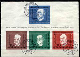D+ Deutschland 1968 Mi Bl. 4 - 554-57 Todestag Adenauers GH - [7] République Fédérale