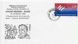 3551  Carta Collioure  1989, , Cinquantenaire De La Mort Du Poète Antonio Machado, Cincuenta Aniversario De La Muerte De - Storia Postale