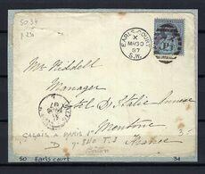 """GRANDE BRETAGNE 1887: DDL De LSC De Earls-Court (Londres) Pour Menton (France) Avec Le Y&T 95, Obl. Ovale De Barres """"34"""" - 1840-1901 (Regina Victoria)"""