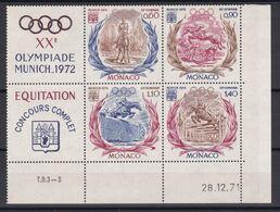 D218 / MONACO / LOT N° 890/893 BLOC DE 4 COIN DATE ET VIGNETTES  NEUF** COTE 24€ - Collections, Lots & Séries