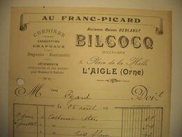 Z007 - Facture De 1921 AU FRANC-PICARD - Chemises Chapeaux - BILCOCQ - DEBLANGY - 8 Place De La Halle - LAIGLE Orne - Artesanos