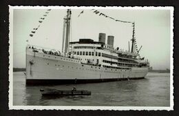 Photo Originale 13,5 Cm X 8,5 Cm - Paquebot Leopoldville - Compagnie Maritime Belge - 2 Scans - Barcos