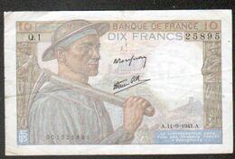 Billet 10 F Mineur, A.11-9-1941.A,  Date De Mise En Service De Ce Billet - 1871-1952 Antichi Franchi Circolanti Nel XX Secolo