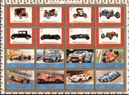 Ajman 1973 Mi# 2749-2764 A ** MNH - Sheet Of 16 (4 X 4) - Cars - Ajman