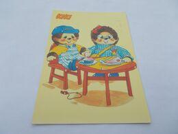 ILLUSTRATION  PELUCHES  KIKI ET SA COPINE A TABLE GATEAU  DESSERT  SIFFLET  VOYAGEE 1987  FLAMME VATAN ( 36 ) - Other Illustrators