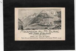 Carte Publicitaire Illustrée - ASCENSION AU Mt BLANC Par L'HOTEL De BELLEVUE Près Du COL DE VOZA - Advertising