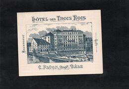 Carte Publicitaire Illustrée - HOTEL DES TROIS ROIS - C. FLUCK. Propriétaire à BÂLE - BS Basel-Stadt