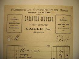 Z010 -  Facture Des Années 20 GARNIER-DUTEIL - TISSUS EN GROS - 3 Rue Saint-Jean à LAIGLE (Orne) - Perfumería & Droguería
