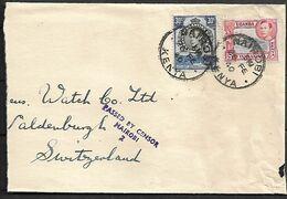 KENYA UGANDA & TANGANYIKA 1940 Censored Cover Sent To Suisse 2 Stamps COVER USED - Kenya, Uganda & Tanganyika