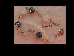 Bra-023 Bracelet Marseillais Ancien Avec Boules Hématites Et Boules Translucides Sur Chaîne Maille Cheval Simple - Sin Clasificación