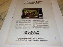 ANCIENNE  PUBLICITE TELEVISION PLUS FIABLE   PATHE MARCONI 1976 - Televisione