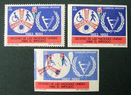 1989 URUGUAY Mnh IMPERFORATE Variety 2 Varieties Rehabilitation Of Sick Impedido Disabled Handicapées Yvert 1283 - Uruguay