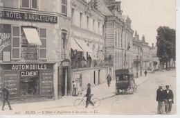 CPA Blois - L'Hôtel D'Angleterre Et Les Quais (animation Devant Garage Automobiles Clément) - Blois