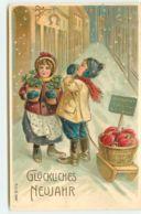 N°15862 - Carte Gaufrée - Glückliches Neujahr - Enfants Apportant Des Champignons - Neujahr