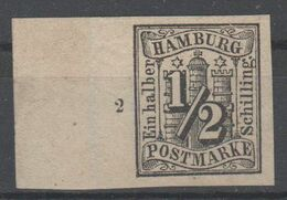 Hamburg , Nr 1 Ohne Gummi , Kabinettstück Vom Bogenrand - Hamburg