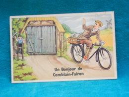 "COMBLAIN-FAIRON (HAMOIR) - CP FANTAISIE DESSINEE AVEC VELO ""UN BONJOUR DE "" - Hamoir"