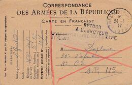 Carte De Correspondance Des Armées - 23 Mai 1917 - 163ème Pour 30ème Régiment Infanterie - SP 107 115 - Retour Envoyeur - Marcofilie (Brieven)