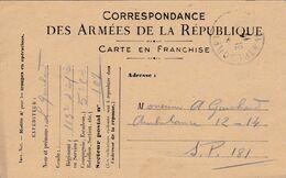Carte De Correspondance Des Armées - 31 Juillet 1917 - 163ème Régiment Infanterie Pour Ambulance 12-14 - SP N°107 & 181 - Marcofilie (Brieven)