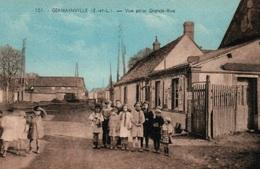 Germainville (Eure-et-Loir) Vue Prise Grande Rue, écoliers - Edition M. Aube - Carte Colorisée N° 101 Non Circulée - Frankrijk