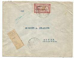 GRAND LIBAN 1FR MERSON SEUL LETTRE REC BEYROUTH 19.3.1924 BANQUE DE SYRIE POUR ALGER - Great Lebanon (1924-1945)