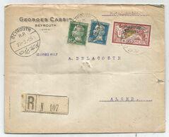 GRAND LIBAN PASTEUR 10C+50C +1FR MERSON LETTRE REC BEYROUTH 21.2.1925 POUR ALGER - 1922-26 Pasteur
