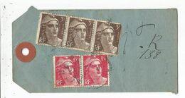 GANDON 3FR BRUNX3 1 DEFAUT +1FR50X2 AU VERSO ETIQUETTE REC PROVISOIRE LILLE 13.2.1946 AU TARIF PAQUET CLOS 50 A 100G - 1945-54 Marianna Di Gandon