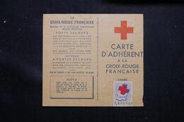 FRANCE - Vignette Croix Rouge Sur Carte D'Adhérent En 1954 - L 71544 - Croix Rouge