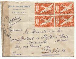 MADAGASCAR FRANCE LIBRE PA 1FRX9 LETTRE AVION ANONITBE 1945 POUR PARIS CENSURE - Brieven En Documenten