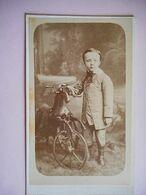 PHOTO CDV 19 EME JEUNE GARCON  ET SON  JOUET TRICYCLE CHEVAL  MODE  Cabinet JAMIN A PARIS - Foto's