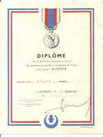 ALGERIE . DIPLOME DE LA MEDAILLE ... - Documents