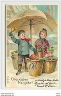 N°5935 - Carte Gaufrée - Glückliches Neujahr - Enfants Au Marché - Cochons - Champignon - Neujahr