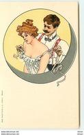 N°13513 - Art Nouveau - Homme Déshabillant Une Jeune Femme Dans Un Médaillon - Otros Ilustradores