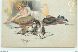 N°14671 - Crotta - Jeune Femme Légèrement Vêtue Allongée à Côté D'un Lévrier - Illustrators & Photographers