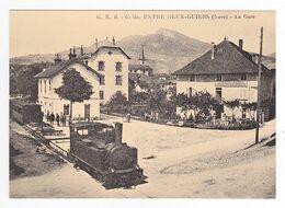 CPM TRAIN VOIR DOS 38 ENTRE DEUX GUIERS La Gare Locomotive à Vapeur Train Mixte Pour Voiron - Voiron