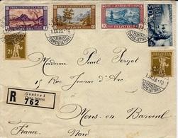 1929- Enveloppe RECC. De Genève  Affr. Composé à 70 C.  Pour La France - Switzerland