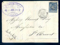 Lettre Envoyée De Usines De Portillon Tours Vers Manufacture De St Clement  AVR20-57 - Marcofilie (Brieven)