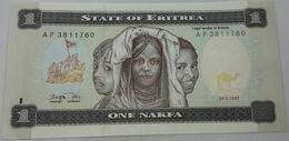 Billete Eritrea. 1997. 1 Nafka. Camello. SC. Sin Circular. Posibilidad De Números Correlativos - Eritrea