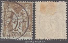 2Fr Sage Oblitéré *JOURNEAUX* TB (Y&T N° 105, Cote +++€) - 1898-1900 Sage (Type III)
