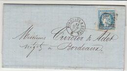 EAC Valmont Marabail, Tonnellerie Aiguillon Lot Et Garonne N°60 Ambulant Bordeaux à Cette 1872 - 1849-1876: Classic Period