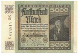 Billet De 5000 Mark   1922 - [ 3] 1918-1933 : Repubblica  Di Weimar