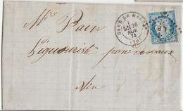 Saône Et Loire LAC Macon N°60 O. Ambulant LP, T17 Gare De Macon , Passe 1307 Au Verso 1874 - 1849-1876: Classic Period